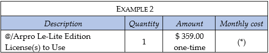 Software Arpro Le price example 2